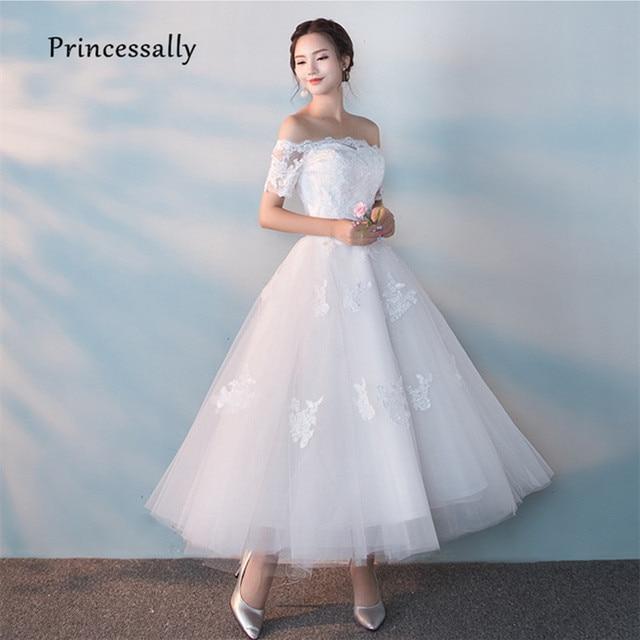 5f5135f491a Robes De Mariage nouvelle robe De mariée blanche longueur cheville col  bateau Sexy manches courtes broderie