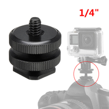 1/4 Dual Thumb Screw Flash Cold Hot Shoe Camera Adapter Mount for GoPro DSLR