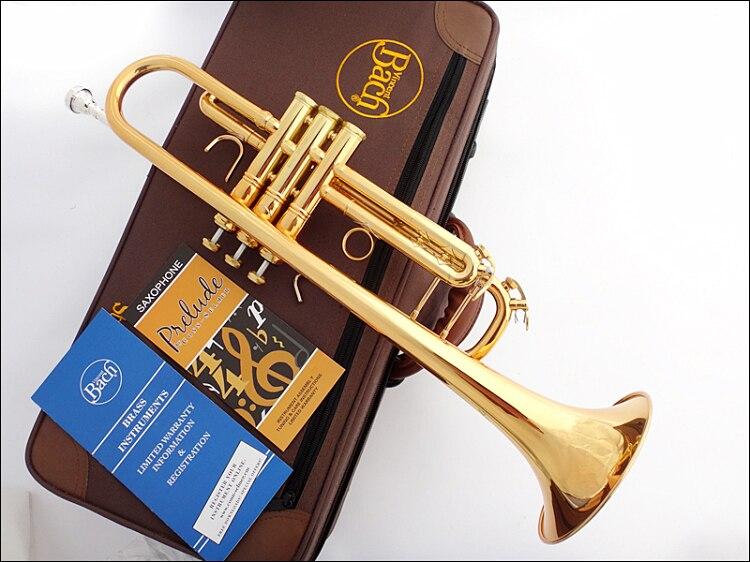 Nouveau Bach Bb trompette TR-190GS or laque Instruments de musique trompettes professionnelles étudiant inclus étui embout accessoires