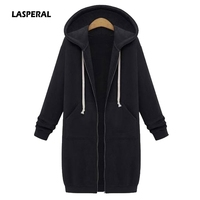 LASPERAL 2017 Autumn Winter Long Hooded Hoodies Women Oversize Casual Slim Sweatshirt Coat Pocket Zip Up