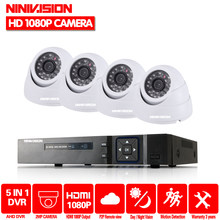 Ninivision HD 1080 P 4CH Sistem Kamera AHD CCTV Surveillance AHD DVR Kit Video Recorder dengan 4 Pcs 2MP AHD putih Dome Camera Kit(China)