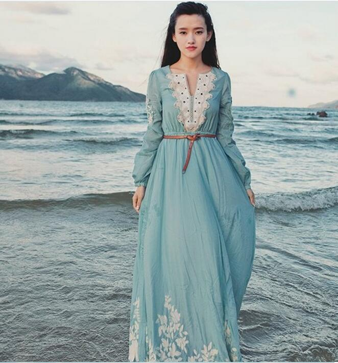New arrival Vintage dress Mori Girl plus size embroidery beach maxi dresses  women high quality elegant print long dresses brand