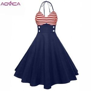 Винтажное платье Aovica, 50 s, красное, в полоску, с пуговицами, без рукавов