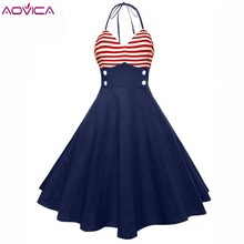 8713d4ef4e67 Aovica Vintage 50s Red Striped Elegant Button Sleeveless Party Dresses A  Line