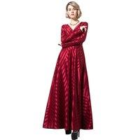DF Elgant פסים בציר אדום ארוכות שמלה ארוכה שרוולי V עיצוב צוואר מסיבת היוקרה נשים שמלות שנה חדשות גודל גדול 6139
