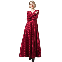 DF Elgant Vintage Striped Red Long Dress Long Sleeves V Neck Design Ladies Luxury Party New Year Dresses Large Size 6139