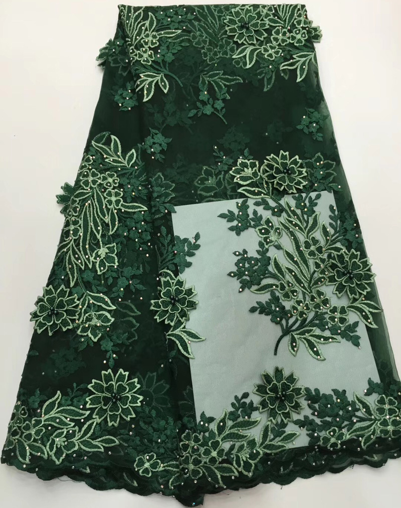 Free shipping (5yards/pc) High quality green African French net lace fabric with 3D flowers and beads stones for dress FLC932