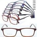 Atacado 8020 acetato de full aro flexível dobradiça dupla sólida bicolor praça armações de óculos óptica frete grátis