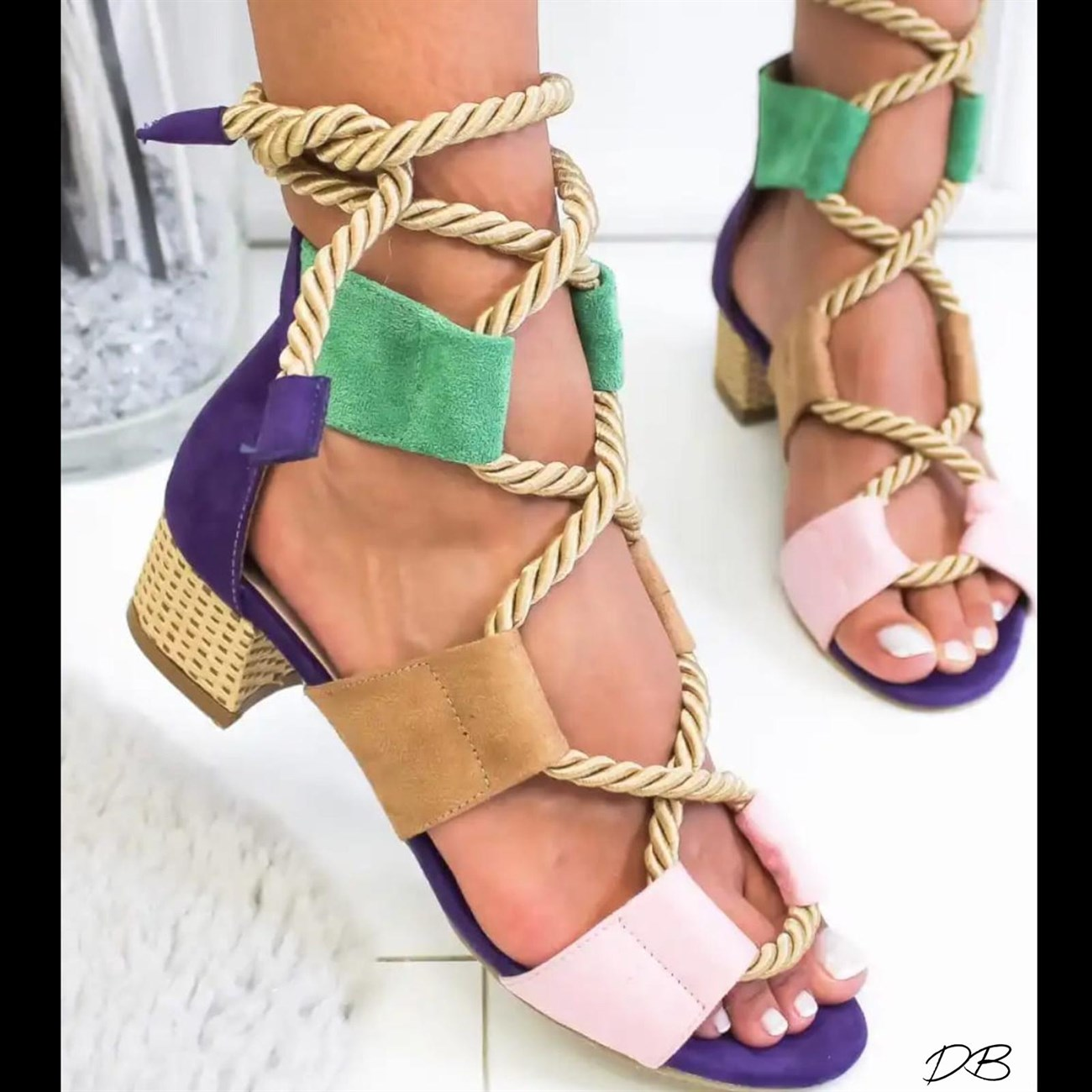 PINK Bohemian Women Sandals Mid Heel Pointed Fish Mouth Shoes Lace Up Platform Sandals