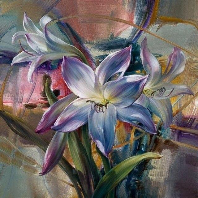 Sans Cadre Fleur Pourpre Peinture à La Main Par Numéros Peinture