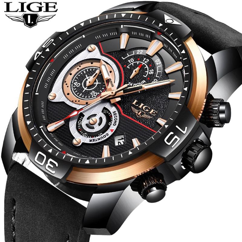 Новый LIGE мужские часы лучший бренд класса люкс Бизнес Водонепроницаемый кварцевые часы мужские черные Повседневное кожа спортивные часы ...