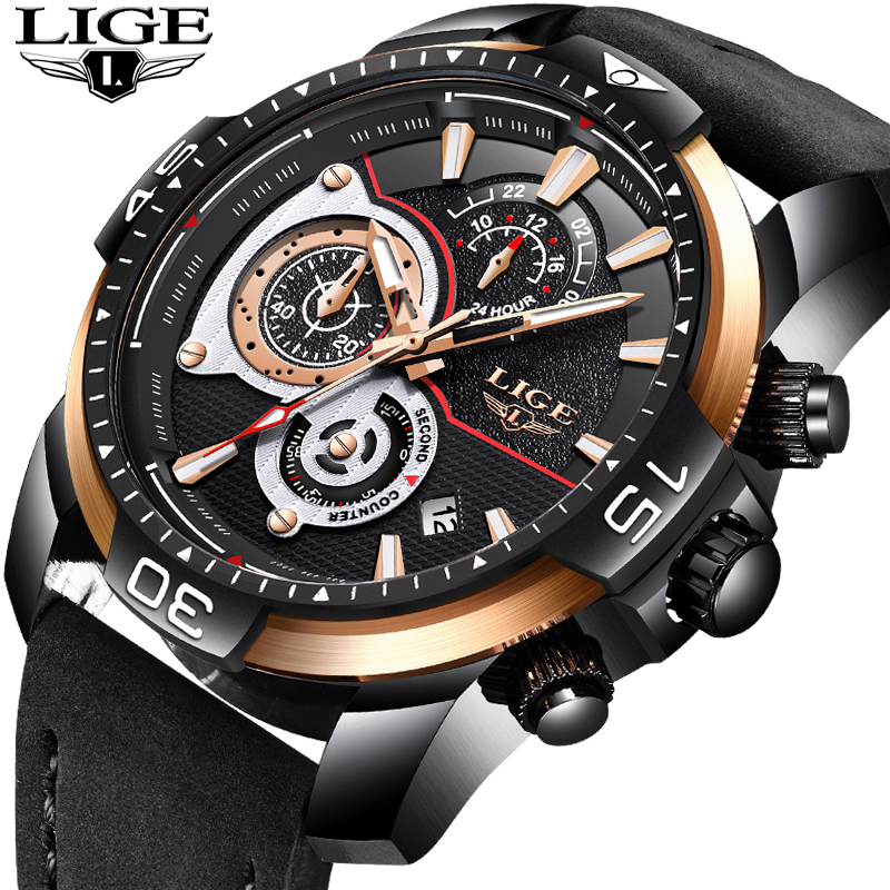 New LIGE Mens Watches Top Brand Luxury Business Waterproof Quartz Watch Mens Black Casual Leather Sport