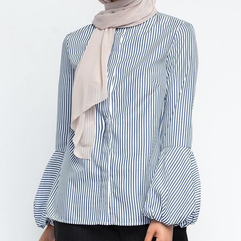 853f88b0de9b7 Spring Striped Arabic Turkey Manset Lace Crochet Long Tops Arabe Ropa  Musulmana Mujer Turkiye Saudi Long Top Islamic Clothing