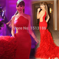 Hot ! Custom Made Scalloped Ruffles Floor-Length Mermaid Evening Dresses Prom Gowns New Design Celebrity Dresses XY498