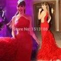 Hot! Custom Made ruiva Ruffles andar de comprimento sereia vestidos Prom vestidos nova celebridade vestidos XY498