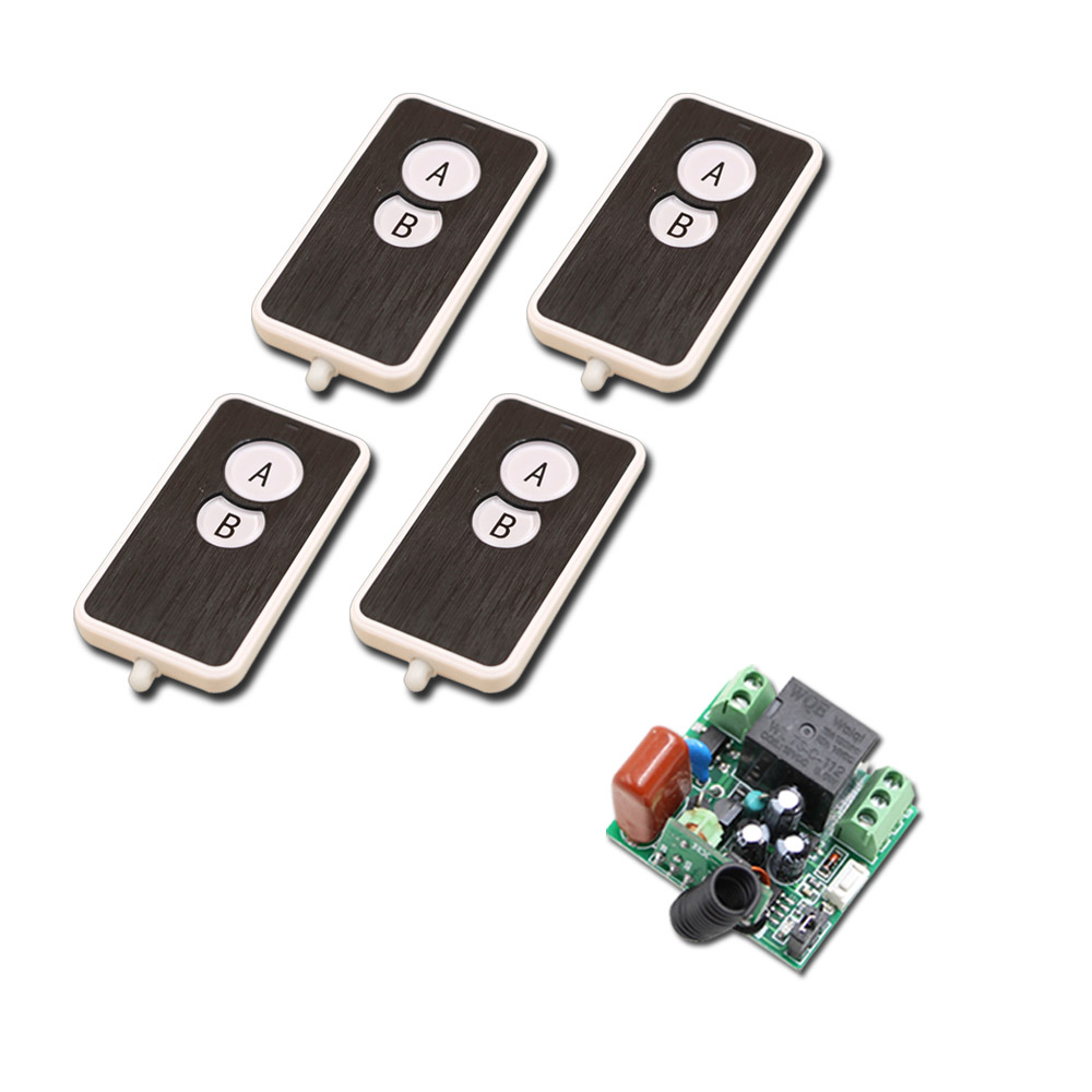 New Arrival Mini Size 220V 1CH Wireless Remote Control Switch Relay 1X Receiver +4X 2CH Transmitter System for Smart Home
