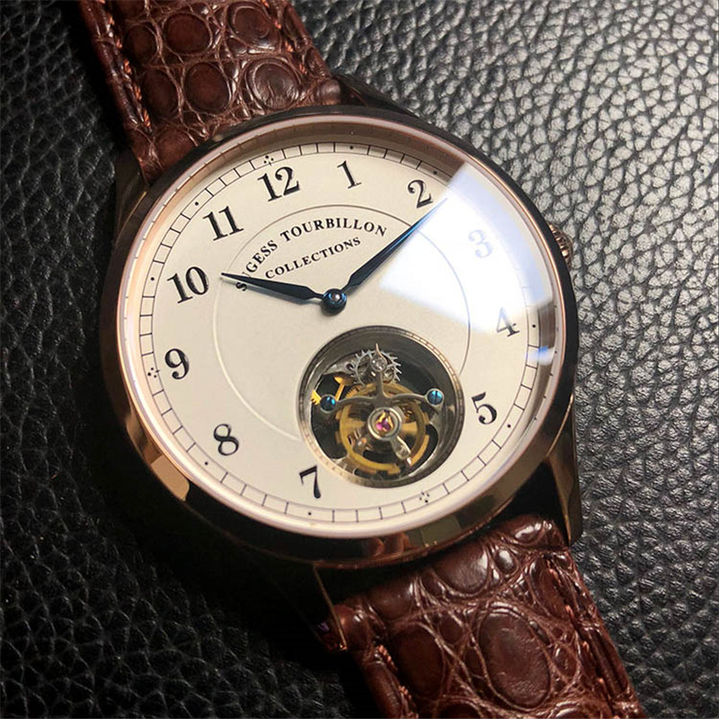 Top marque de luxe hommes montres mécaniques mouette ST8000 Tourbillon mouvement robe Crocodile véritable cuir hommes montres