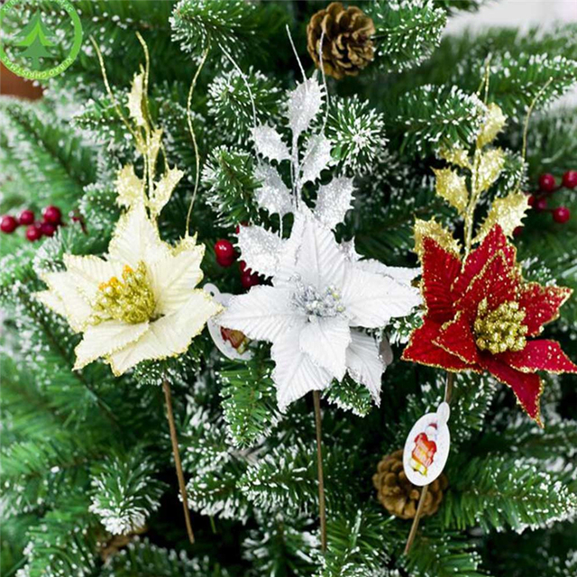 2018 artificial flowers christmas decorations for home christmas tree ornaments xmas tree new year decor navidad - Flower Christmas Ornaments