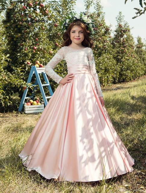 Fancy Long Sleeves Lace Appliques   Flower     Girls     Dresses   Pearls First Holy Communion   Dresses   2019