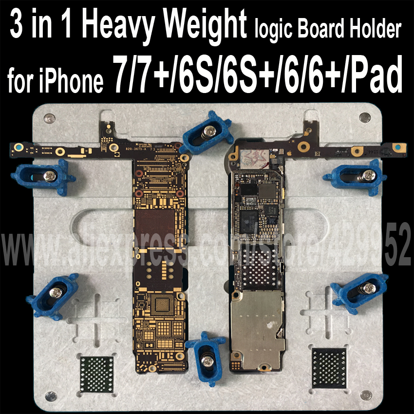3 in 1 Logic Board Clamps High Temperature Main Motherboard PCB Fixture Holder for iPhone 5S 6 6S 7 Plus iPad Fix Repair Mold 1pcs lot for iphone 5s power supply chip ic 338s1216 a2 u7 for motherboard main board repair 338s1216