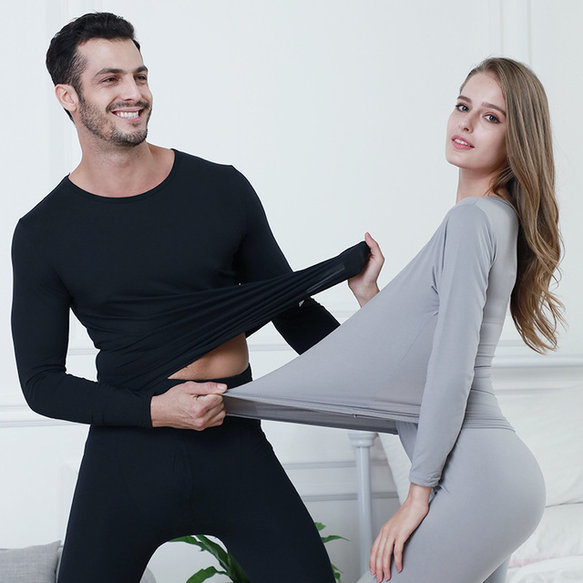 2019 New Spring Autumn Winter Couple Thin Cotton Thermal Underwear Set For Women Men High Elastic Clothing Long Johns Plus Size(China)