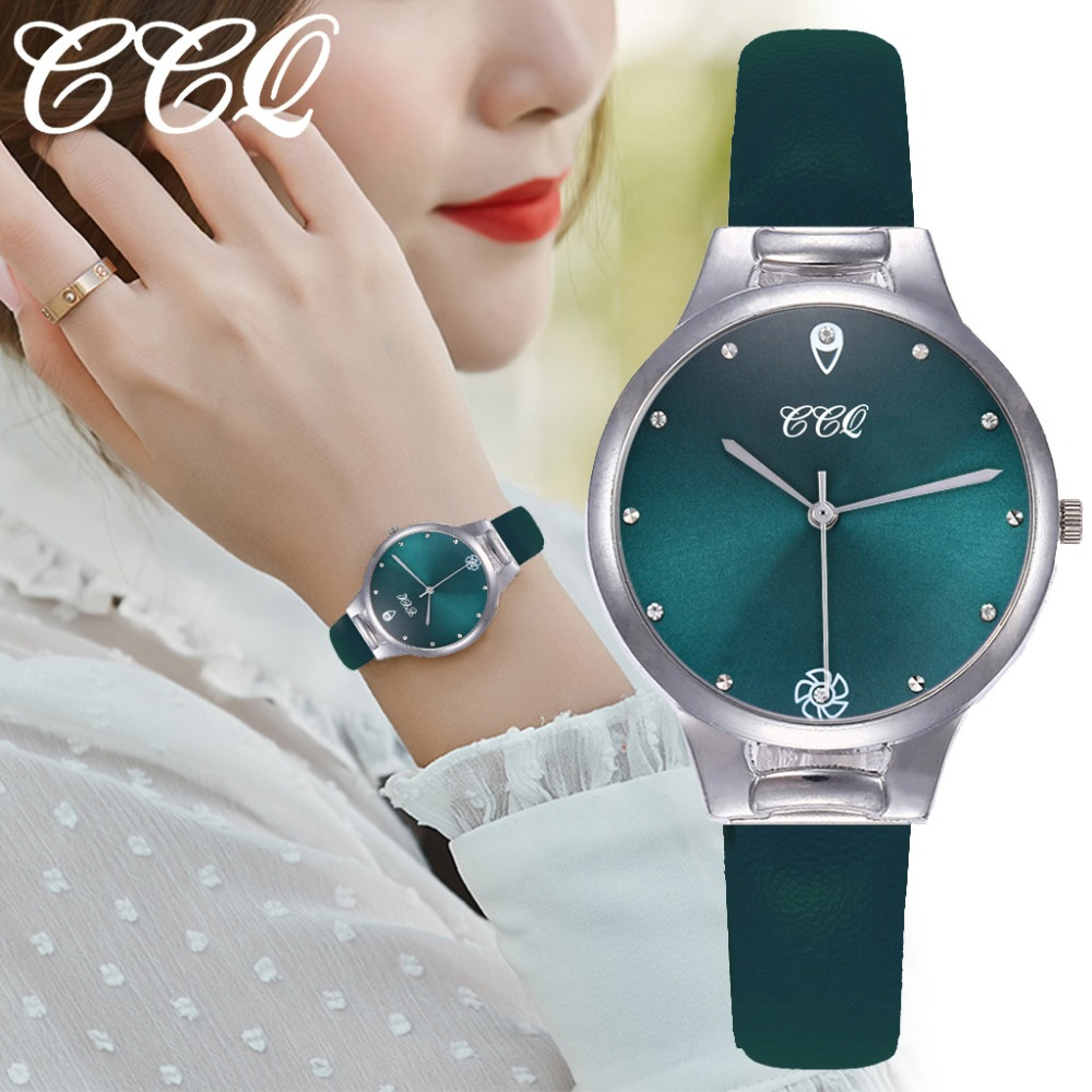 Luxury Women Watches Green Dial Ladies Quartz Wristwatch Fashion Leather Strap Clock Creative Dress Gift Relogio Feminino@50