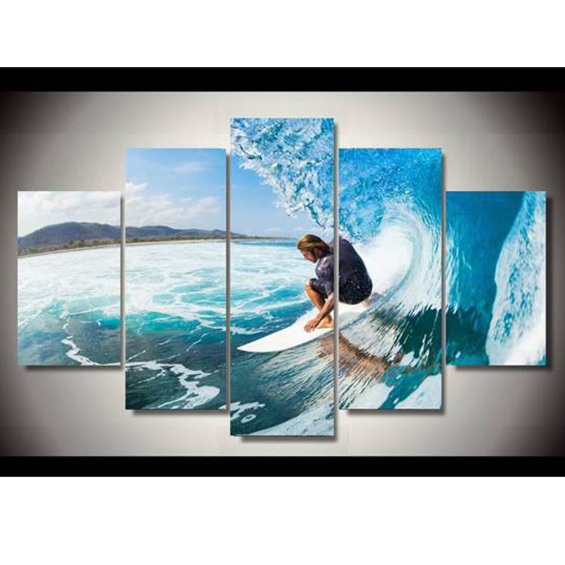 New 5D Home Decor Diamond Embroidery Mosaic Man Water Surf Group For Gift  Diy Diamond Painting Cross Stitch BK 3032-in Diamond Painting Cross Stitch from Home & Garden    1