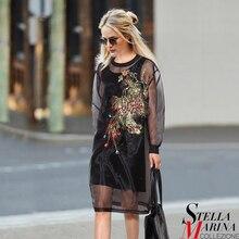 Новый евро женщины весна черный органзы dress о-образным вырезом полный рукавом лоскутная колен прямые случайные милые девушки платье стиль 2214