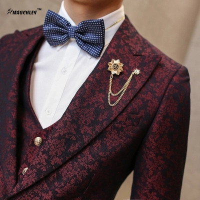 MAUCHLEY Prom Mens Suit With Pants Burgundy Floral Jacquard ...