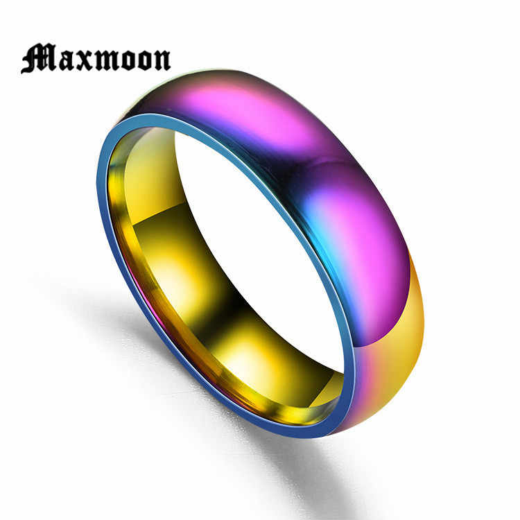 Maxmoon Men Women Rainbow Colorful Ring Titanium Steel Wedding Band Ring Width 6mm Size 5-13 Gift free shipping