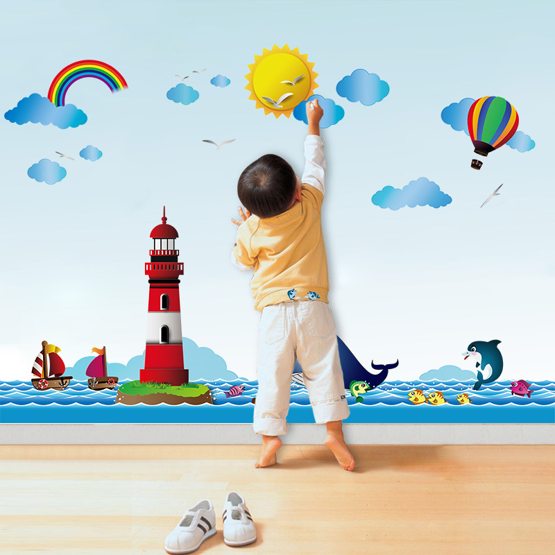 3d ocean landscape children wall stickers removable