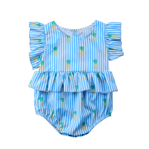 Newborn Infant Toddle Baby Girls Sleeveless Bodysuit Stripe Ruffel Sleeve Sunsuit Summer Casual Clothes Cotton Clothes 0-12M