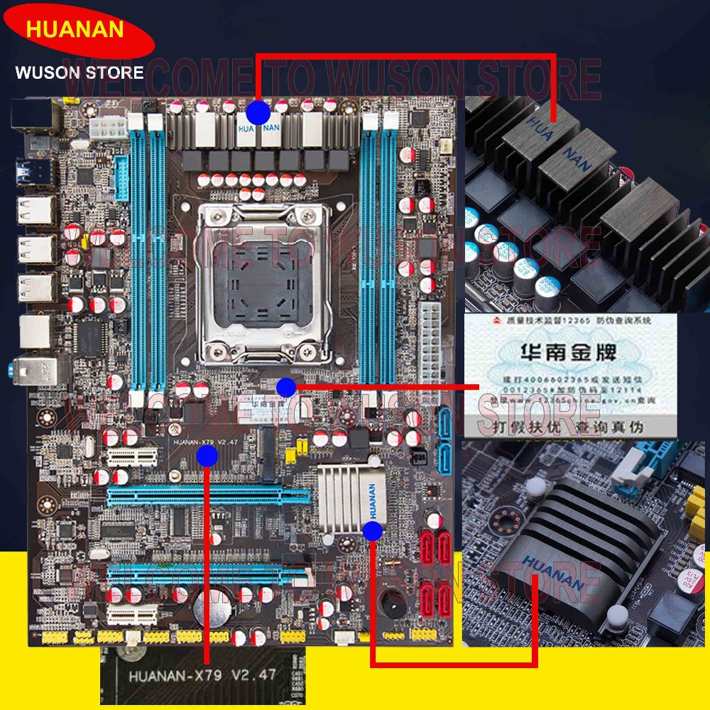 где купить  Hot sale HUANAN X79 motherboard X79 LGA 2011 ATX motherboard revision 2.47 4 channel memory DDR3 WUSON store 2 years warranty  дешево