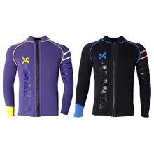Мужской неопреновый купальный костюм для дайвинга 3 мм, куртка для подводного плавания, серфинга, Снорклинга, плавания, водных видов спорта, фиолетовый, черный