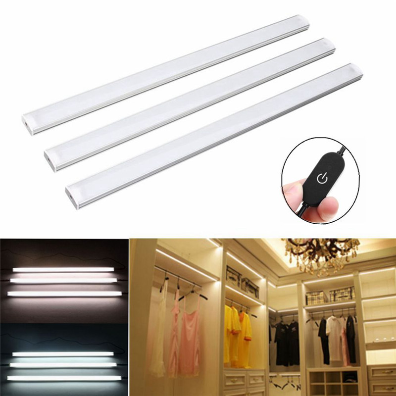 CLAITE 3Pcs 30CM 4W Control Dimmable LED Under Cabinet Light Warm White /White Magnet Night Light AC110