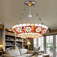 Tiffany European style Mediterranean shell pendant light bedroom restaurant hanging lighting