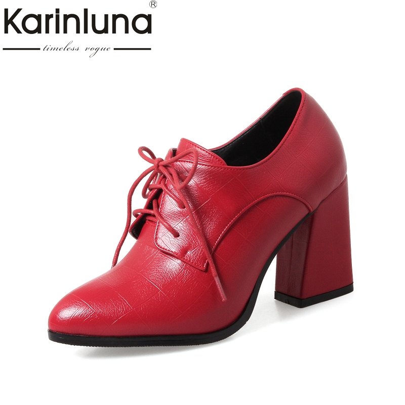 KarinLuna High Quality 2018 New Fashion Sizes 34-39 Square Heels Women Shoes Woman Sexy Shoelaces Pointed Toe Ankle Boots pegasi high quality 5pcs 50 sizes hss