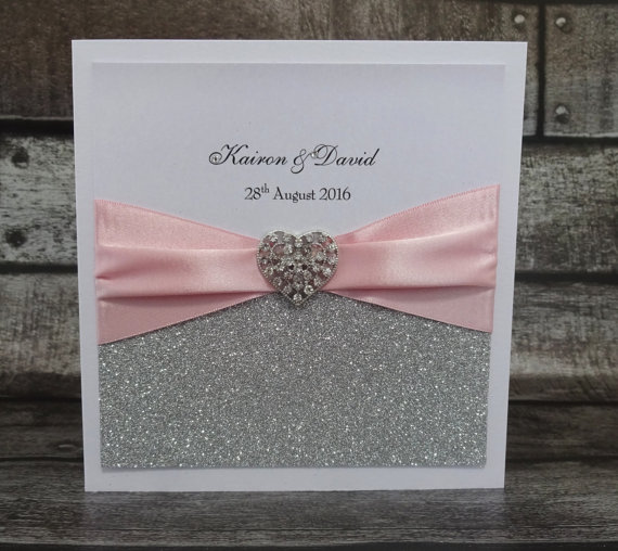 White Glitter Wedding Invitation Cards With Satin Ribbon And Heart Shape  Buckle CA0648(China (