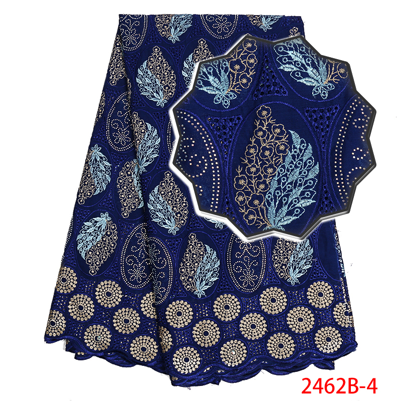 Swiss Cotton Lace Fabric Hot Sale African Dry Lace Fabric With Stones High Quality 2019 Embroidered Laces For Party KS2462B-4