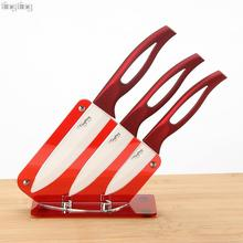 "TINGTING ceramic knife set 3 ""4"" 5 ""with acrylic knife holder stand kitchen knives cooking tools beauty gift red handle"