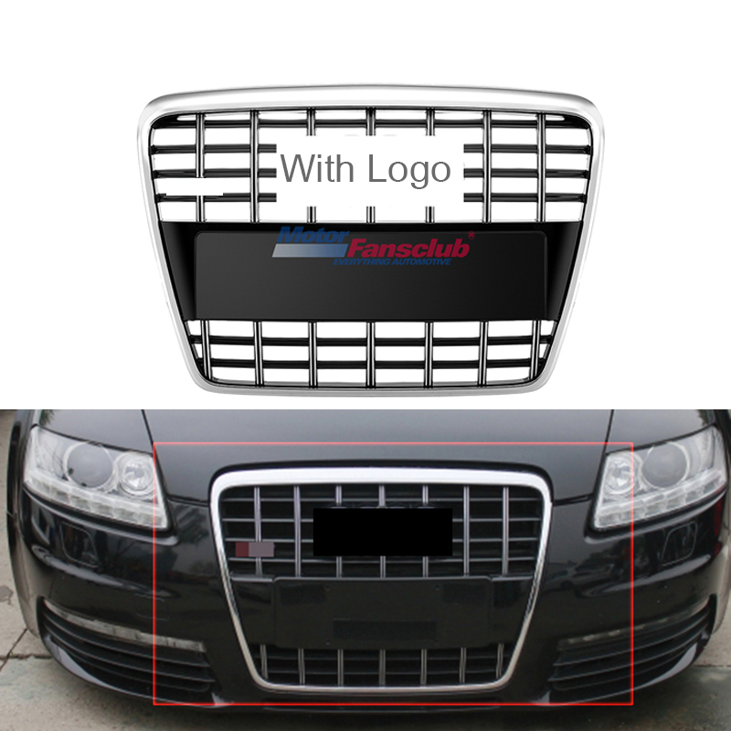 Car Racing Grille For Audi A6 C6 Grill A6 Quattro S6 2005-2011 Emblems Sliver Radiator Chrome Black Front Bumper Modify Mesh possbay front fog light for audi a6 c6 quattro a6 s6 avant 2009 2011 yellow lights lower bumper external lights car styling