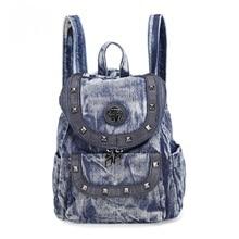 Новые модные заклепки сплошной Малый Посланник рюкзаки Daypacks школьные сумки джинсы Девушки Женщины Дорожная сумка через плечо