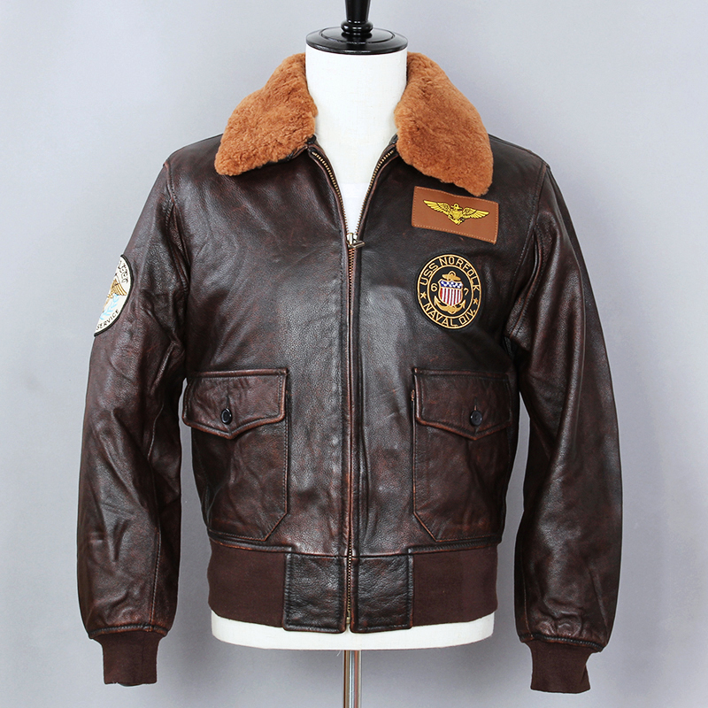 2019 Air Force Flight Jacket Genuine Leather Jacket Men Fur Collar Cowhide Bomber Jacket Brown Slim Fit Winter Coat Male