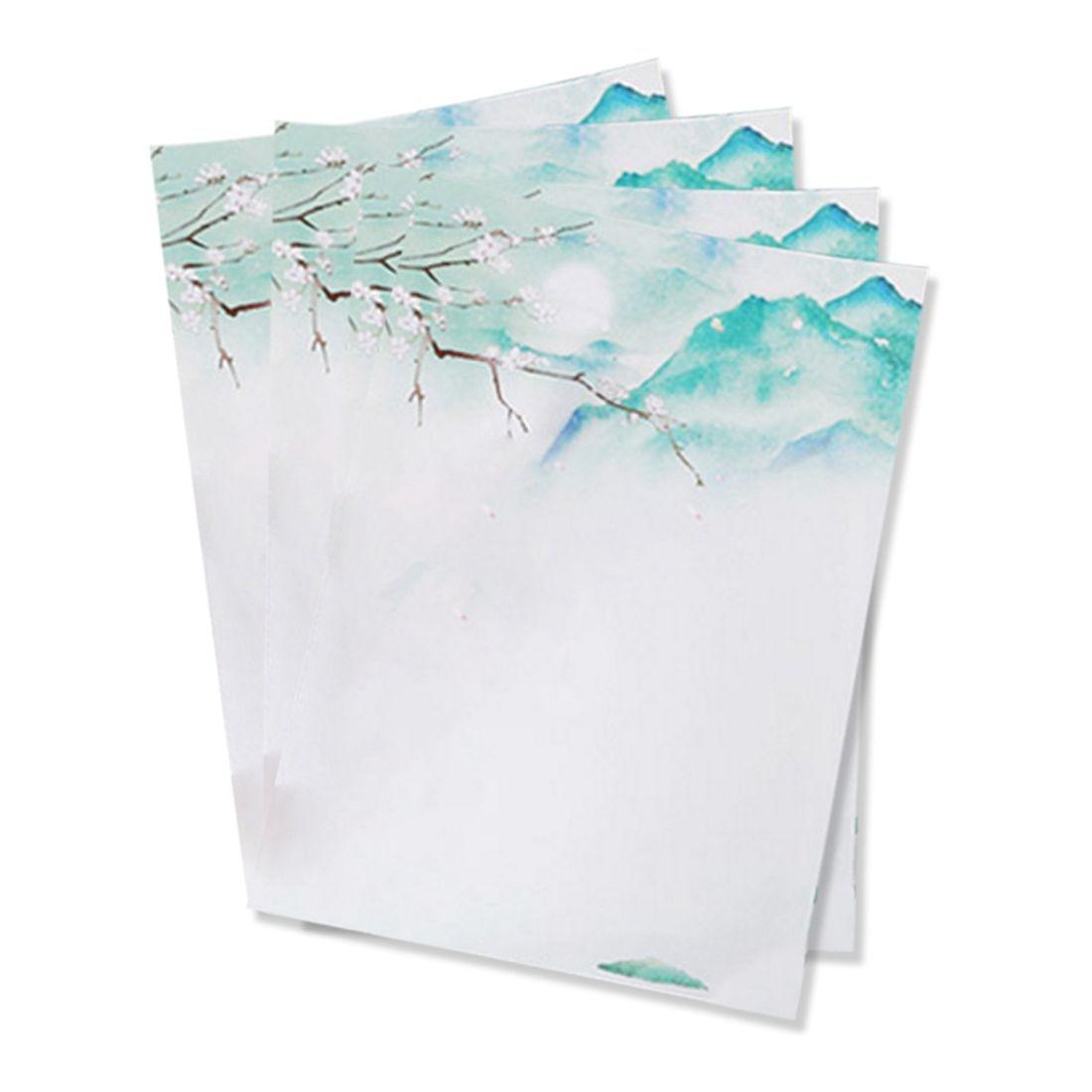40pcs Romantic love letter, student news envelopes, Chinese wind retro beautiful scenery envelope,green