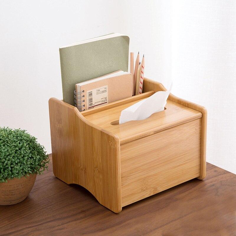 Bambou bureau télécommande boîtes de rangement sur la table boîte à mouchoirs salon table basse cosmétiques papeterie supports - 2