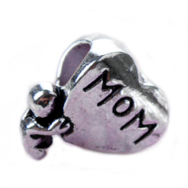 New Silver Plated Bead Charm European Vintage Mom Love Heart Beads Fit Women Pandora Bracelet Bangle DIY Jewelry(China (Mainland))