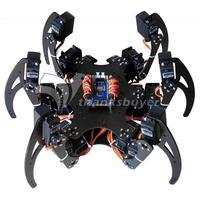 Собранный 18DOF алюминиевый Hexapod Паук Шесть 3DOF Ноги робот рамка с сервоприводом и сервоприводом рог и контроллер