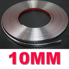10MM*15M Car Chrome Styling Decoration Moulding Trim Strip Tape Auto DIY Protective Sticker Adhesive Fits Most Car Strip Decor