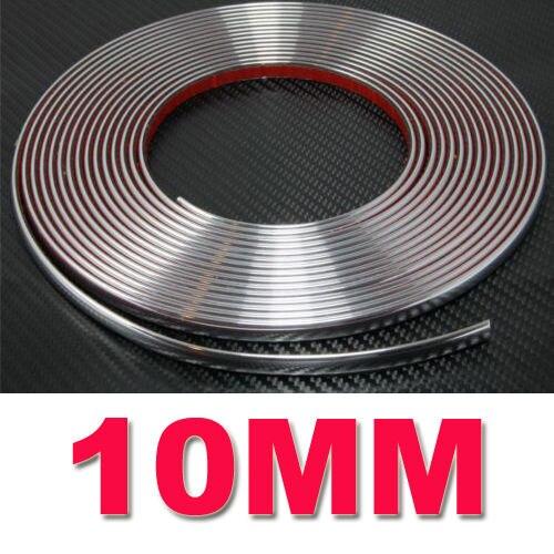 10MM X 15M coche cromado decoración moldura cinta protectora Auto DIY adhesivo se adapta a la mayoría coche nuevo