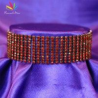 Pfau Sterne Braut Hochzeit 10 Reihe Dark Red Strass Halsband Halskette Sexy Prom Pageant Schmuck CC022